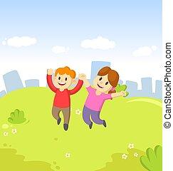 saltare, mani, ragazza, loro, gioia, blu, felice, cielo, giovane ragazzo, città, fondo., cartone animato, bambini, aria
