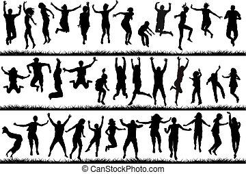 saltare, persone, bambini, giovane