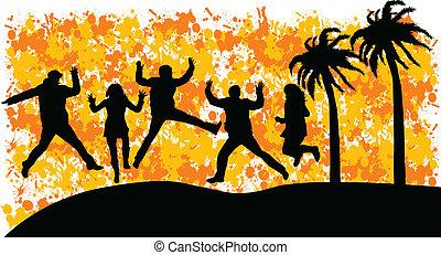 saltare, persone, gruppo