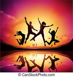 saltare, persone, tramonto