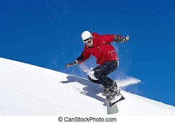 saltare, profondo, blu, attraverso, snowboarder, cielo, aria