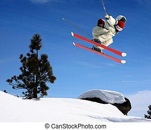 saltare, sciatore