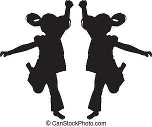 saltare, silhouette, capretto