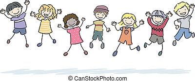 saltare, stickman, bambini