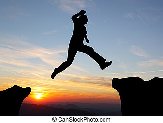saltare, tramonto, sopra, montagne, andando gita, uomo, silhouette