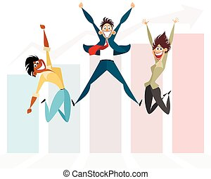 saltare, tre, uomini affari