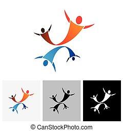 saltare, vettore, insieme, coppia, amore, graphic-, gioia, concetto