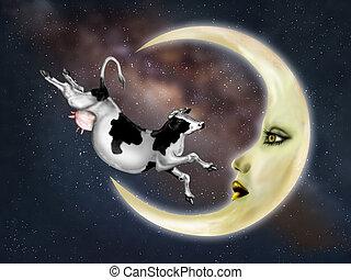 saltato, sopra, mucca, luna