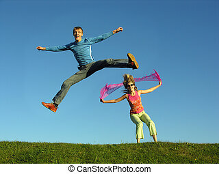 salto, coppia, erba