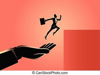 salto, donna d'affari, più alto, spinta