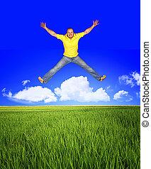 salto, essere, libero