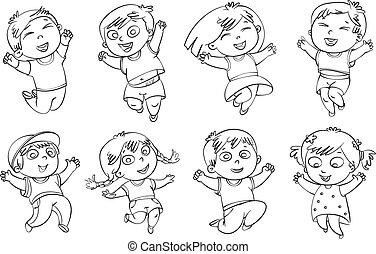 salto, gioia, bambini