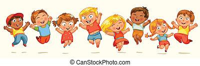 salto, joy., bandiera, bambini