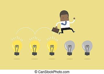 salto, luce, uomo affari, bulbs., africano