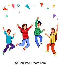salto, persone, giovane, rallegrare