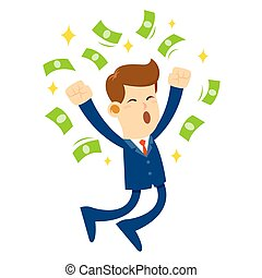 salto, soldi, circondato, uomo affari, gioia