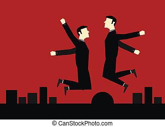 salto, uomo affari, felice