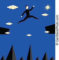salto, uomo affari, rischio