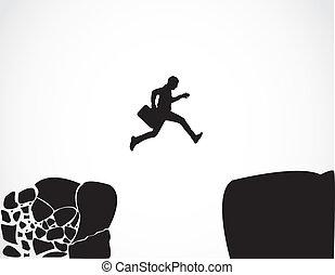 salto, uomo affari, sicuro, concetto, rischio