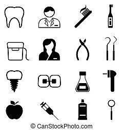 salute dentale, dentista, icone