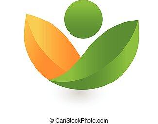 salute, mette foglie, logotipo, verde, natura
