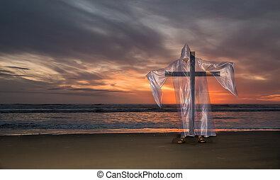 salvezza, spiaggia, croce, tramonto