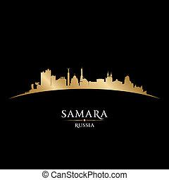 samara, nero, russia, fondo, orizzonte, città, silhouette