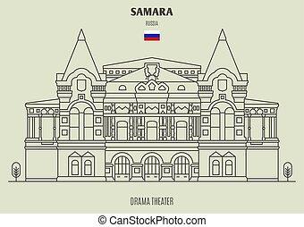 samara, punto di riferimento, dramma, teatro, russia., icona