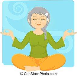 sambuco, donna meditando