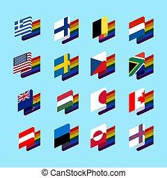 same-sex, set, gaio, simbolo arcobaleno, bandiera, matrimoni, segno, lgbt, tolerant., stato, 2.