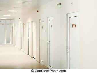 sanità, corridor., facility., moderno, europeo, vuoto, ospedale, hospital.