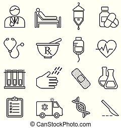 sanità, linea, medico, salute, icone
