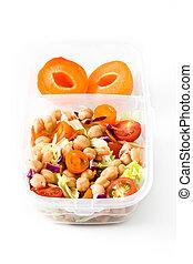 sano, bianco, scatola, pronto, mangiare, pranzo, cibo, fondo.
