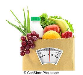 sano, borsa, carta, cibo, fresco, diet.
