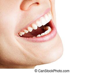 sano, donna felice, risata, denti