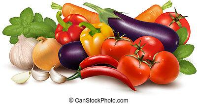 sano, leaves., illustrazione, eating., vettore, verdura, fresco