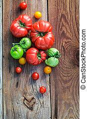 sano, legno, vecchio, pomodori, tavola