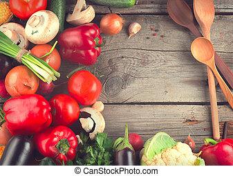 sano, legno, verdura, organico, fondo
