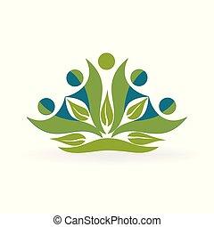 sano, logotipo, vettore, natura, persone