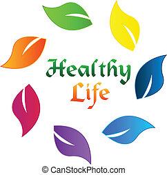sano, logotipo, vita, mette foglie, colorito