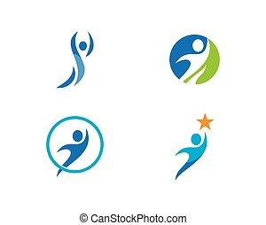 sano, logotipo, vita, vettore