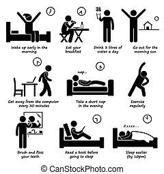 sano, modi vivere, routine quotidiana
