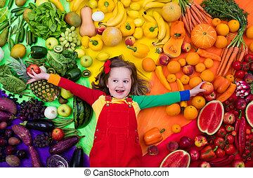 sano, nutrizione, bambini, verdura, frutta