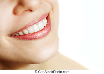 sano, sorriso, donna, fresco, denti