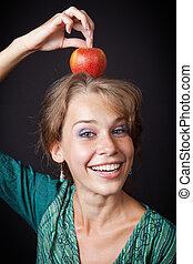 sano, testa, donna, mela, denti