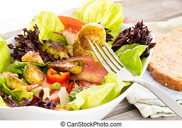 sano, vegetariano, godere, pasto