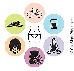 sano, vettore, stile di vita, icone