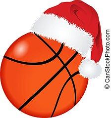 santa, palla, cappello, pallacanestro