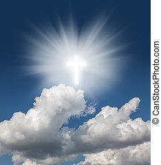 santo, croce, azzurro cielo, ardendo