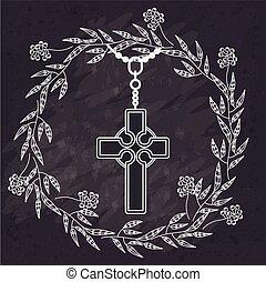 santo, disegno, crocifisso
